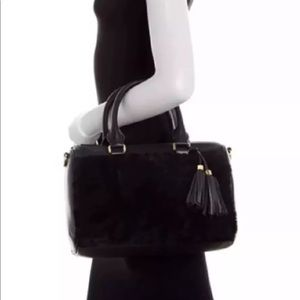Ugg Rae shearling black leather satchel bag